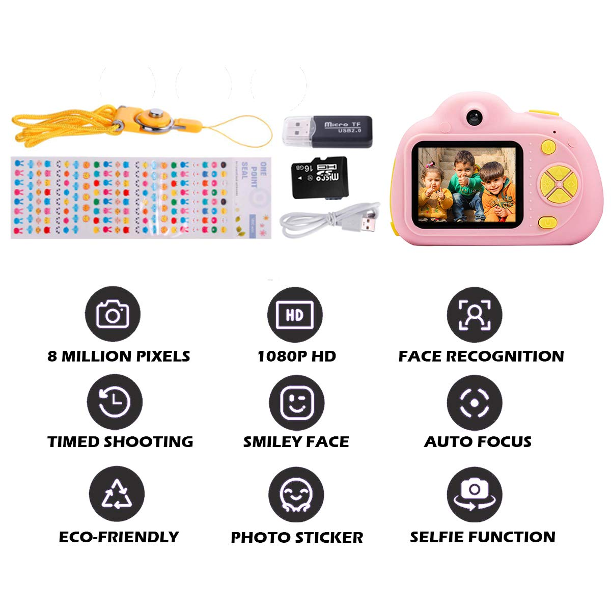 KIDOVE Kids Toys Fun Camera, Waterproof & Shockproof Child Selfie digital game Camcorder, 8MP 1080P dual camera Video Recorder, Creative Birthday Gifts for girls and boys, 16GB TF Card Included (Pink) by KIDOVE (Image #8)