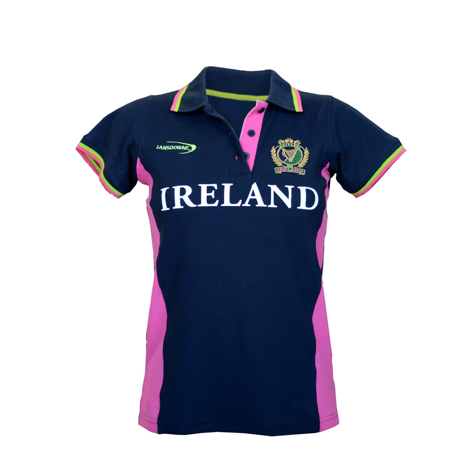 Traditional Craft Ladies Fitted Short Sleeved Rugby Shirt With Pink Green Stipes Navy Colour