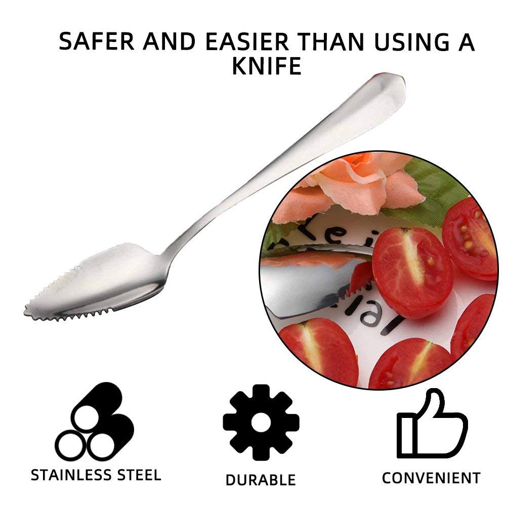 DGdolph 1 Pcs Thick Stainless Steel Grapefruit Spoon Dessert Spoon Serrated Edge Spoon