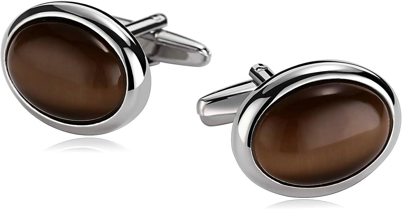 Bishilin Gioielli Gemelli da Uomo Acciaio Inossidabile Ovale Marrone Gemelli da Polso Camicia Argento