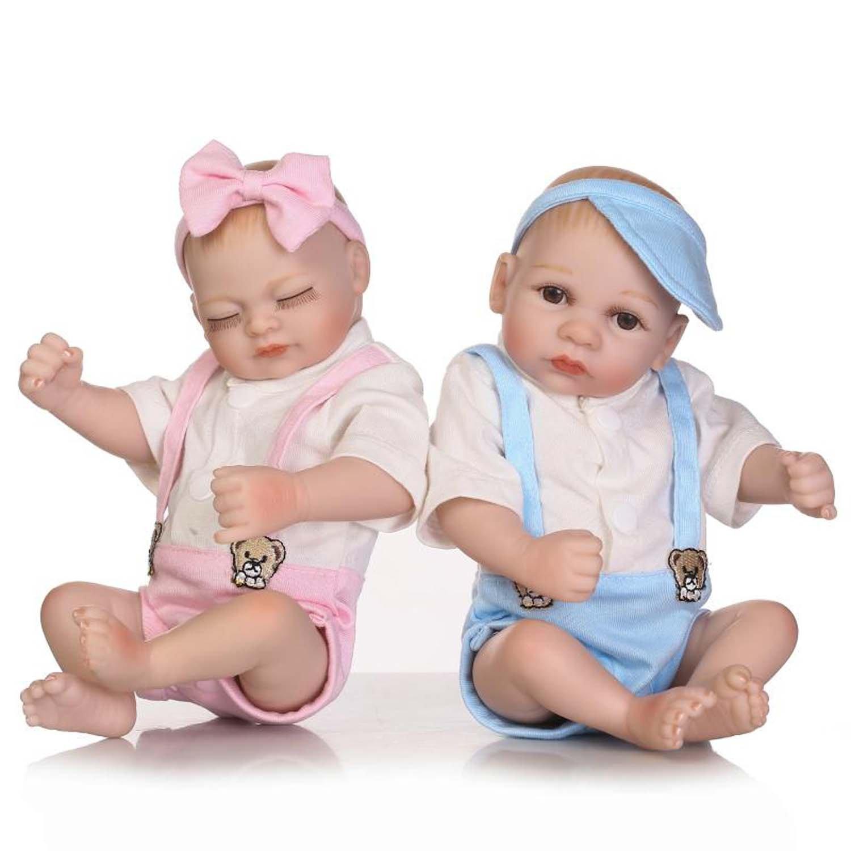Terabithia Mini 10 Inch Alive Reborn Bebé niña muñecas de Silicona de Cuerpo Entero Gemelos recién Nacidos