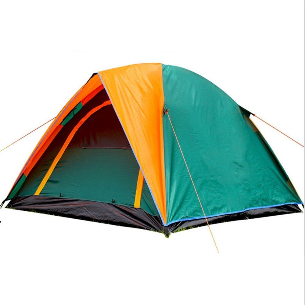 屋外キャンプテント、キャンプテント B07C1KY4M2、ダブルドアダブルドア圧力接着剤、豪雨、3マンテントオレンジ/グリーン B07C1KY4M2, 時津町:0bcc1a9d --- ijpba.info