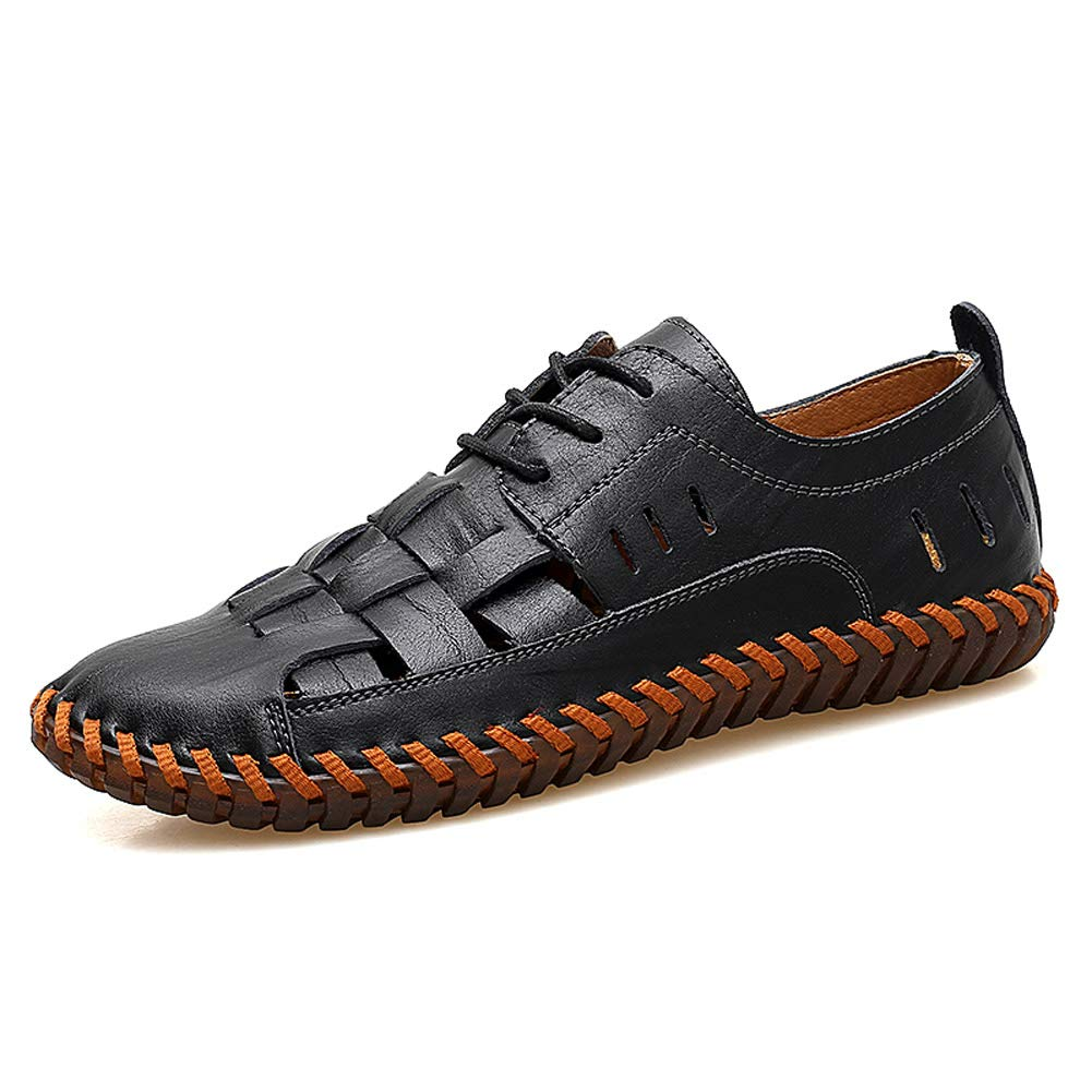 - Moodeng Men`s Closed Toe Leather Sandals Sport Outdoor Sandals Summer Adjustable shoes Causal Fisherman shoes Black