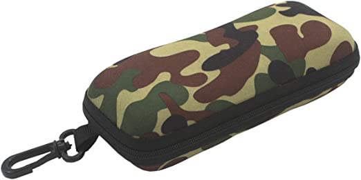 Hard Shell Sunglasses Case with Cilp Portable Camo Zip Eyeglasses Box Protector