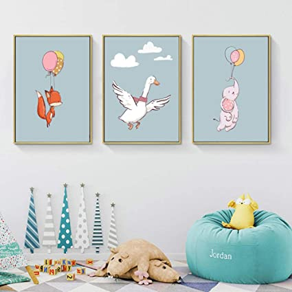 Nordic Rabbit Print Poster Wall Art Animal Creative Canvas Painting Picture