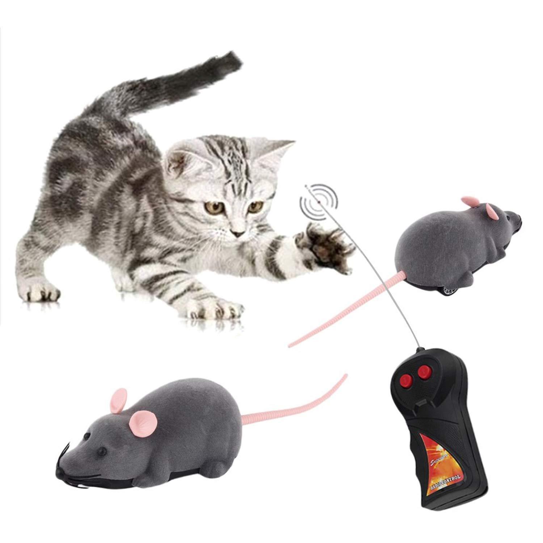 FairytaleMM Drahtlose Fernbedienung Maus Kunststoff Simulation Tiere Elektronische Ratte Lustige Motion Mä use Spielzeug Haustier Katze Spielzeug, Grau