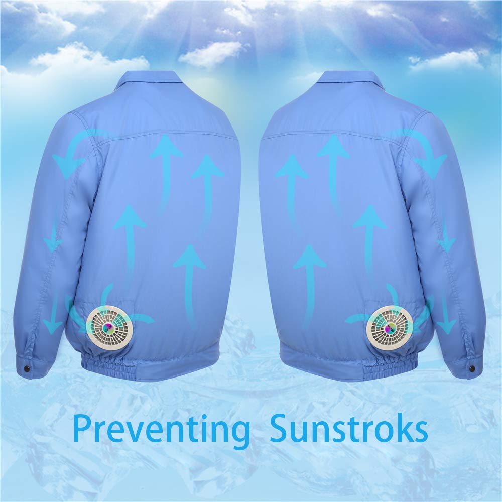 ITIEBO Cooling Clothes & Workwear with Fan & battery pack for man (M, Blue workwear) by ITIEBO (Image #5)