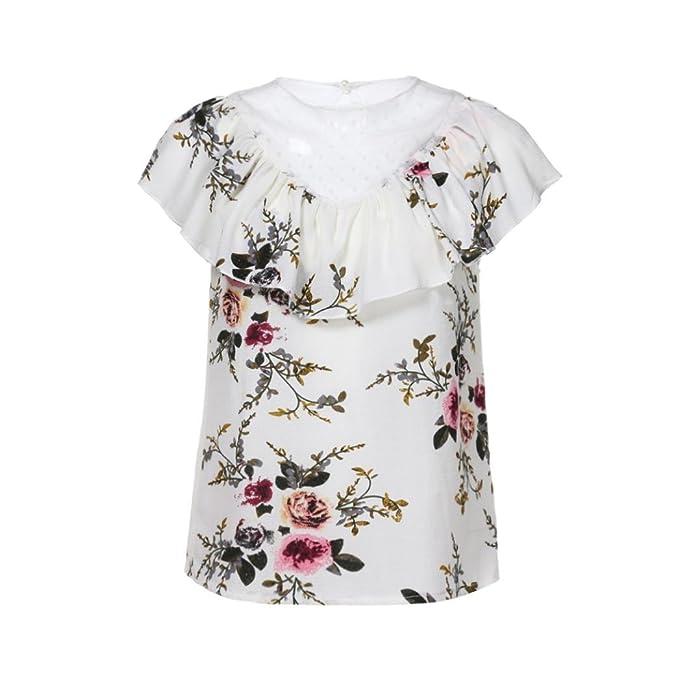 BeautyTop Camisetas Manga Corta Mujer Blusas y Camisas 2018 Hot Las Mujeres de Verano Estampado Floral