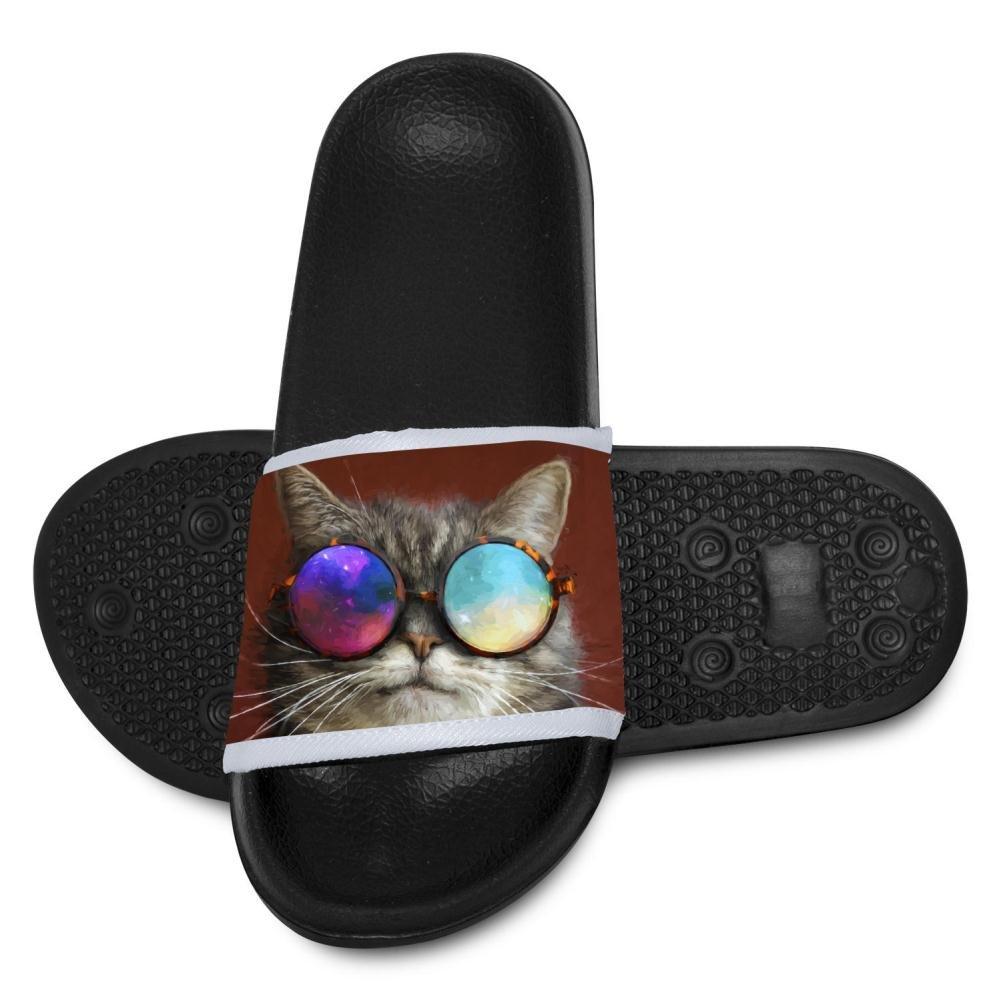 Kids Hawaii Slipper 3D Cool Glasses Cat Open Toe Non Slip Shower Shoes Flip-flop Flat Sandals