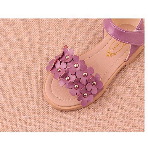 Las Primeras Caminantes De Las Muchachas Florecen Las Sandalias Del Dedo Del Pie Los Zapatos Planos De La Princesa Para El NiñO Y El NiñO PequeñO rosado