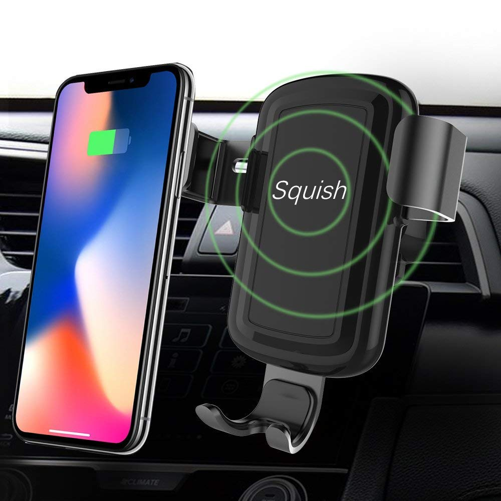 Squish Wireless Charger Car Mount Adjustable Gravity Air Vent Phone Holder for iPhone Samsung Nexus Moto OnePlus HTC Sony Nokia and Android Smartphones Qi Certified by Squish (Image #3)