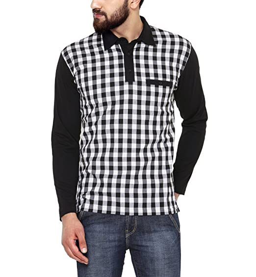 Hypernation Black and White Check Cotton T-shirt For Men