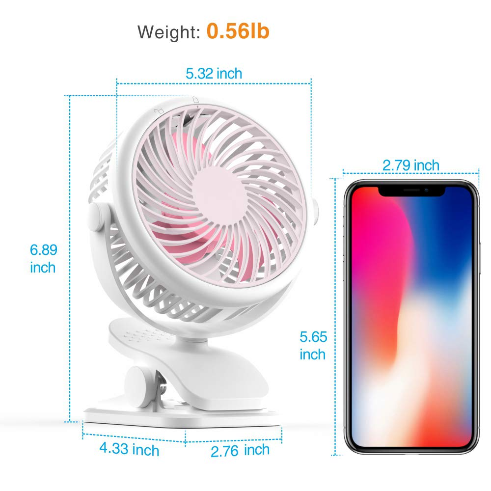Stroller Fan, Cambond Clip On Fan Battery Operated Fan Rechargeable 2200mAh Battery, USB Cable, 3 Adjustable Speed, Desk Table Portable USB Small Fan for Travel Camping Fishing Boating, Pink by Cambond (Image #5)