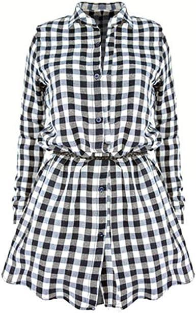 Mujer Vestidos De Camisa Elegantes Moda Vintage Casuales Mini ...