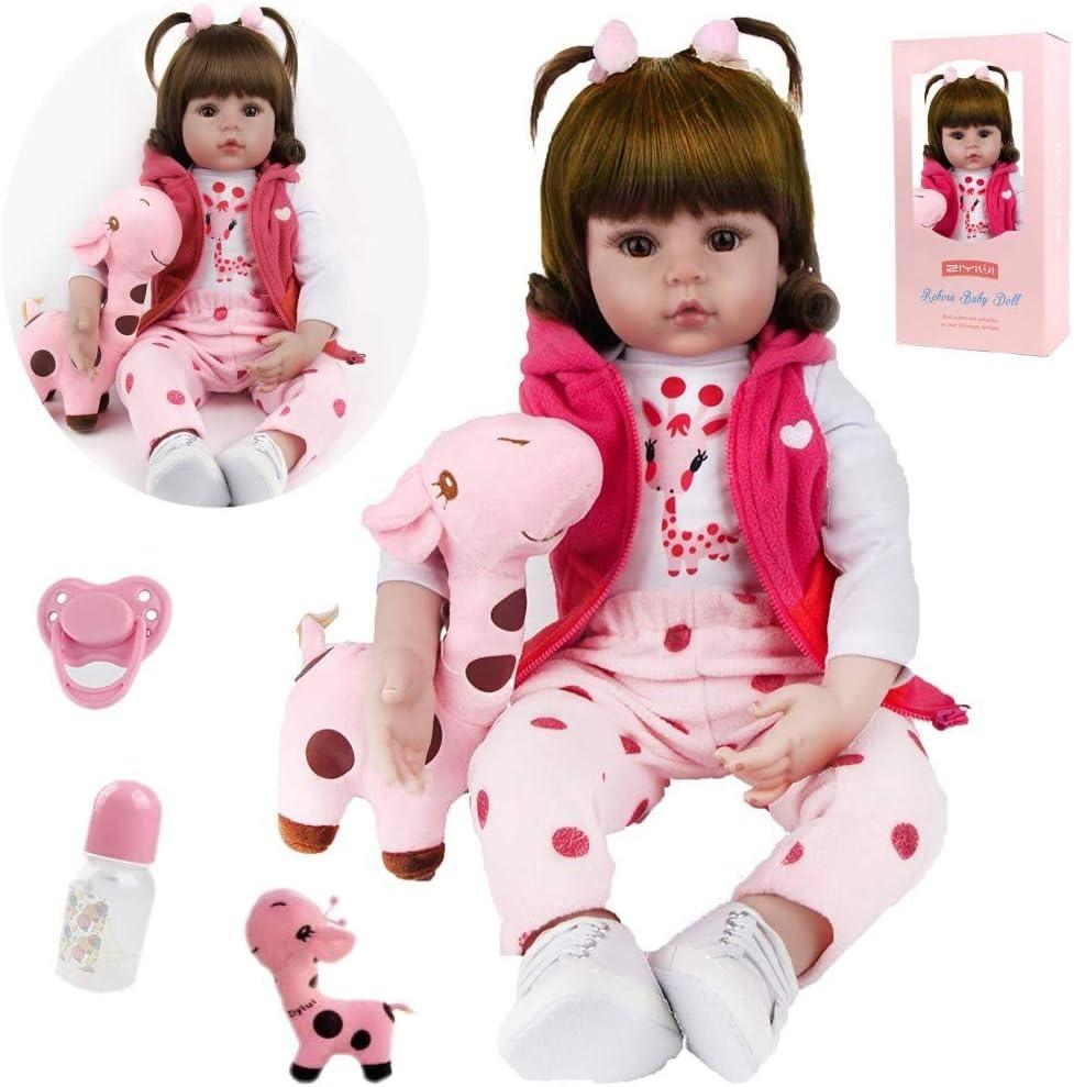 ZIYIUI Reborn 20Inch Reborn Dolls Girl Soft Silicone Vinyl Body Realistic Toddler Brown eyes Girl Lifelike Handmade 50cm Reborn Baby Magnet Pacifier Xmas Gift Reborn