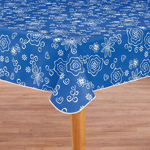 Covers For The Home Deluxe Stitched Edged Flannel Backed Vinyl Drop Tablecloth - Tonal Line Work (Blue) Pattern - 60