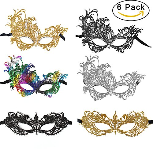 [Sexy Costume Mask Masquerade Mask Black lace Mask Halloween Mask Set for Lady Women] (Masked Luxury Adult Womens Costumes)