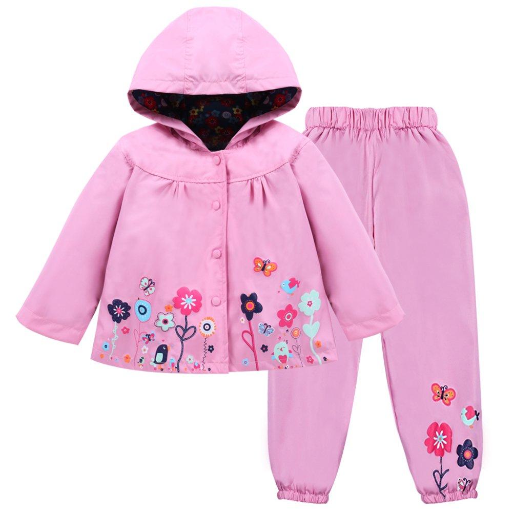 LZH Girl Baby Kid Waterproof Hooded Coat Jacket Outwear Suit Raincoat Hoodies with Pants Pink 6(For Age 5-6Y)