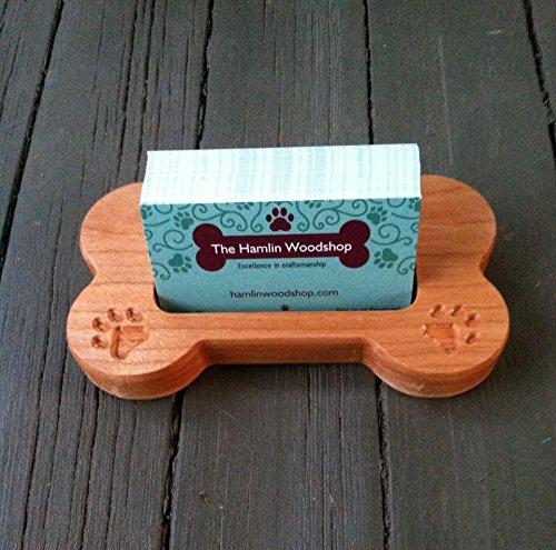 Business Card Holder, Carved Wood Dog Bone, Dog Card Holder, Pet Business Card Holder, Wood Dog Bone Shaped