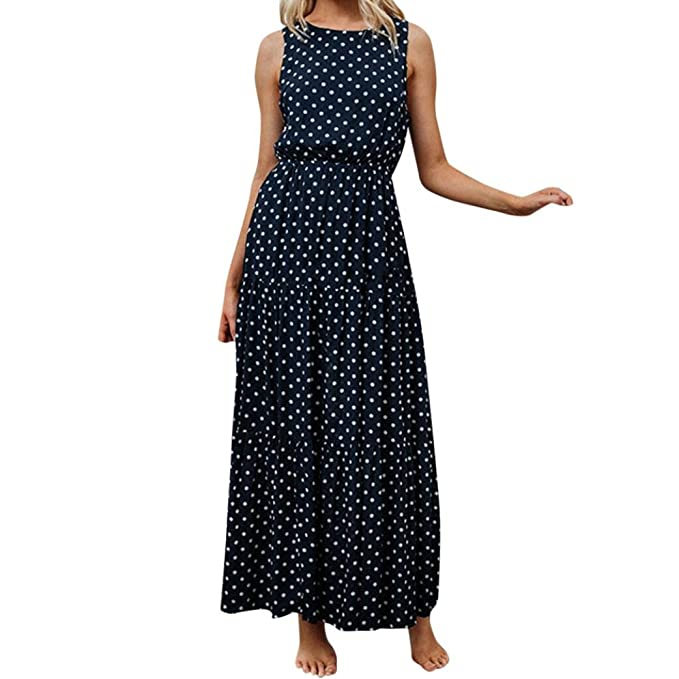 AIEason Women Ladies Dot Printing Round Neck Sleeveless Evening Party Long Dress S