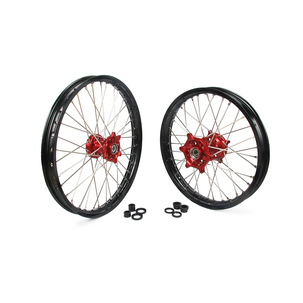 JFG RACING 1.6x21'' 2.15x18'' Front Rear Wheels Set Rims Hubs Spokes - Honda CR125 CR250 04-07 CRF250R 04-14 CRF450R 05-15 CRF450X 04-15 CRF250X 04-15