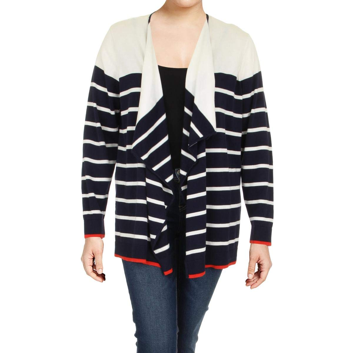 Tommy Hilfiger Womens Plus Striped Embroidered Cardigan Sweater W7DX0234