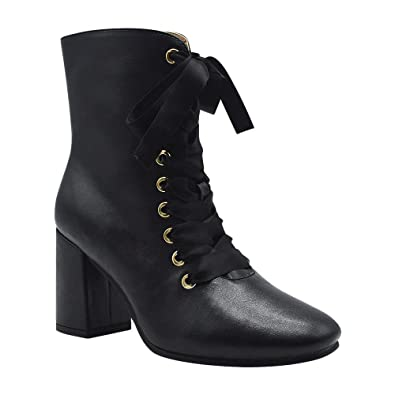Women's Vegan Leather Military Ribbon Lace Up Chunky Heel Booties