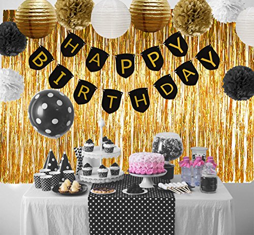 Paxcoo Black And Gold Party Decorations With Happy Birthday Banner For 18th 21st 30th 40th 50th 60th 75th 80th Amazonca Home Kitchen