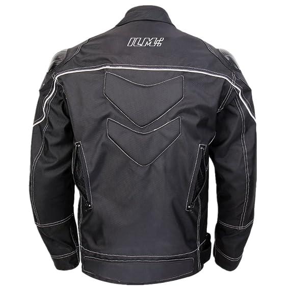 ILM Motorcycle Jackets Carbon Fiber Armor Shoulder Moto Jacket for Men and Women (L, BLACK)