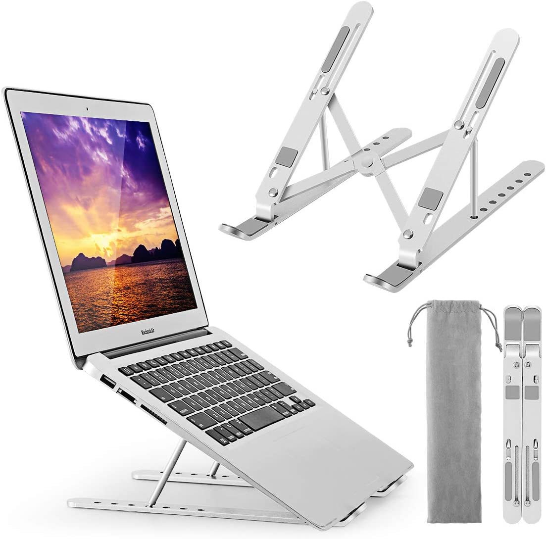 Adjustable Laptop Stand Notebook Riser Aluminium Foldable Portable Computer Book Stand for Desk Compatible with All Tablet and 10