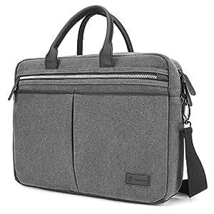 "Tomtoc 15.6 inch Vintage Canvas Laptop Case Cover Shoulder Strap Bag Messenger Bag for 15 inch MacBook Pro and 15.6"" Ultrabook Asus Acer Dell Lenovo HP Laptop, Gray"