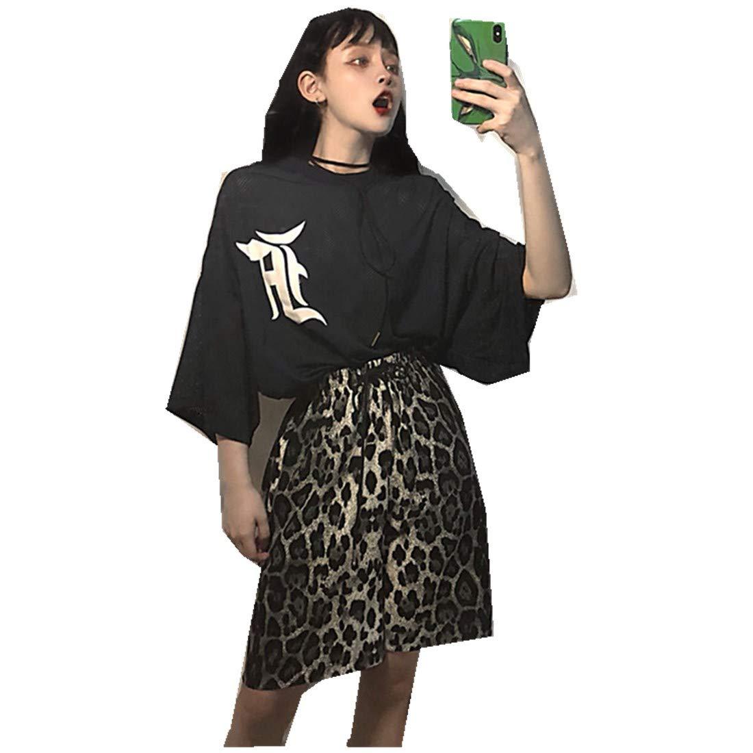 MV Summer Women's Suit Korean Version Loose Printed Mesh T-Shirt + Leopard Shorts