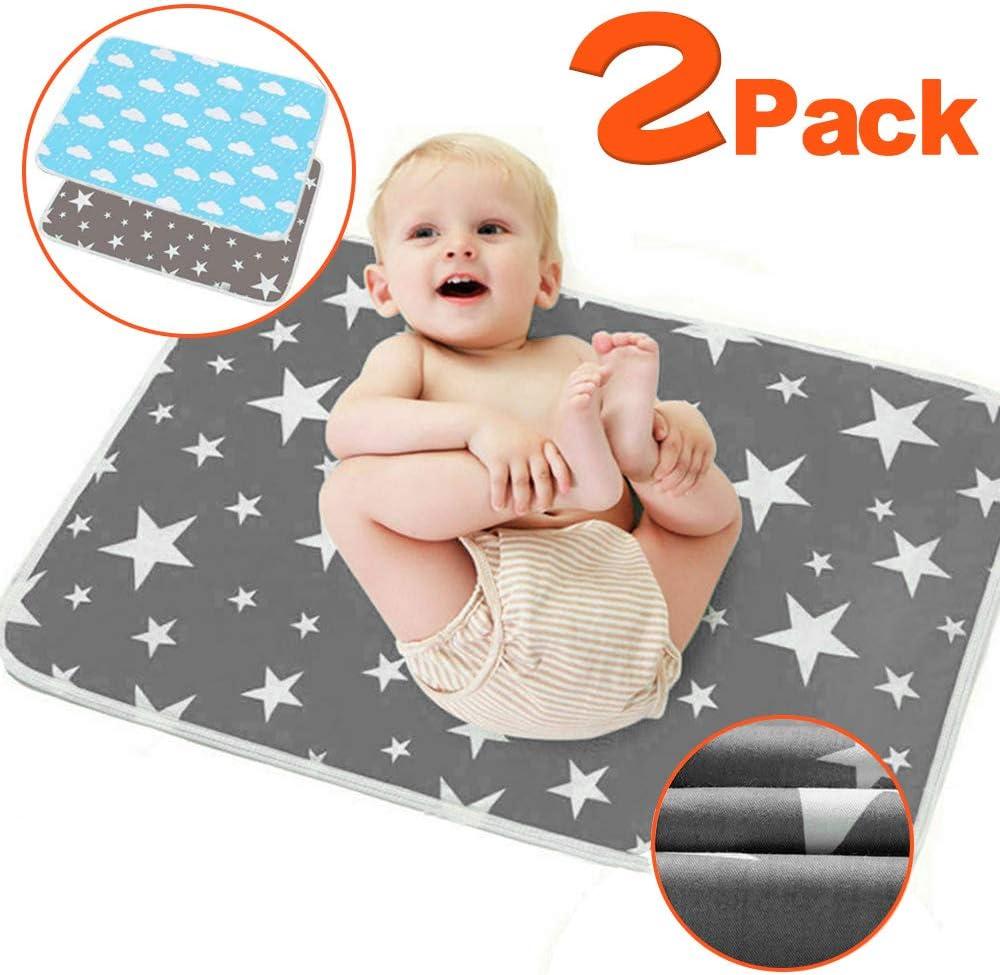 2 unidades de cambiador de bebé – Cambiador de pañales plegable para viaje, grande, impermeable, lavable, para bebés recién nacidos y niños, portátil, plegable, cambiador de pañales