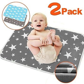 Wiederverwendbare Urin Matte Abdeckung Wasserdicht XL - 80 x 110 cm 2 St/ücke Waschbar Wickelunterlage f/ür Babys und Kleinkinder - Atmungsaktiv
