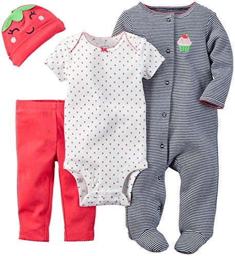 4 Piece Strawberry (Carter's Baby Girls' 4 Piece Layette Set - Strawberry - 9 Months)