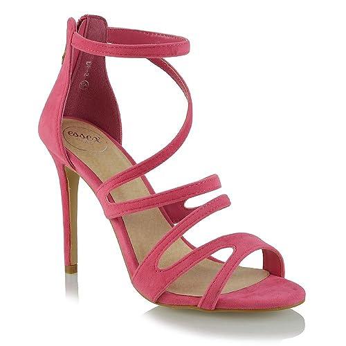db83abd2 ESSEX GLAM Mujer Peep Toe Tacón Alto Coral Gamuza Sintética Estilete  Sandalia EU 41: Amazon.es: Zapatos y complementos