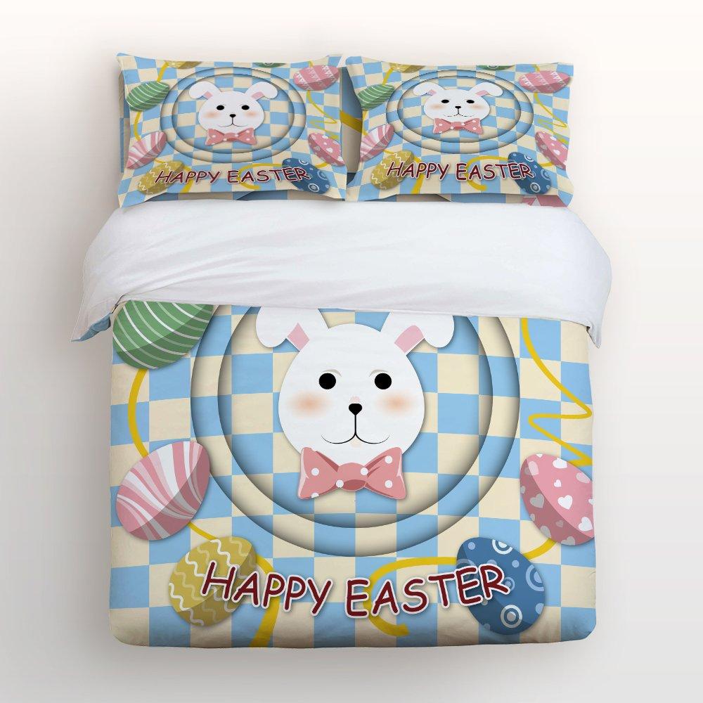 Ultra Soft 4 Pcs Bedding Sets Cotton Modern Luxury Bedding Happy Easter Theme Easter Bunny Easter Egg Printed Home Comforter Bedspread Duvet Cover Set King Size