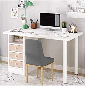GMOON Indoor Desktop Computer Desk - Large Laptop Study Table Workstation Home Office Workstation Furniture with Drawers and Open Cabinet Door, for Read Write Study Game Dress (White)