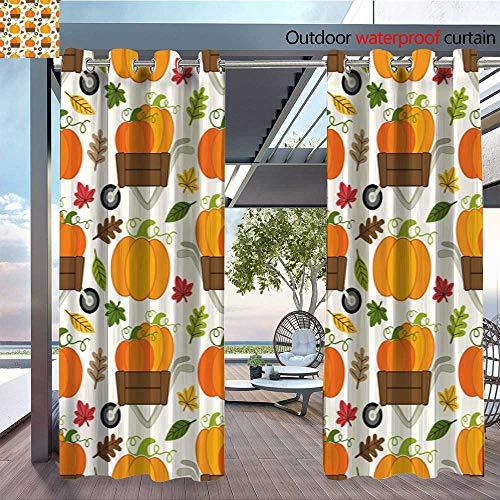 r Single Panel Print Window Curtain Cute-Pumpkin-Patch-Seamless-Pattern-with-Different-Pumpkins-in-Wheelbarrow.jpg Silver Grommet Top Drape W120 x L96(305cmx245cm) ()