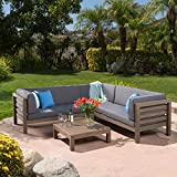 Wooden Garden Furniture Ravello Outdoor Patio Furniture 4 Piece Wooden Sectional Sofa Set w/ Water Resistant Cushions (Grey)