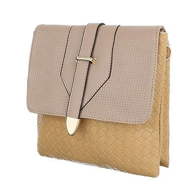 26fb5a3a21ddf Ital-Design Damen-Tasche Kleine Schultertasche Handtasche Tragetasche  Kunstleder Beige Braun TA-C251