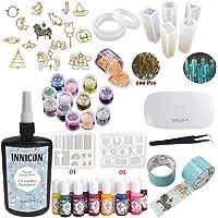 INNICON 250 g Resina epoxi UV cristalina 9 Moldes de silicona 15 Biseles de espalda abierta 13 pigmento 12 Accesorios Brillos Pinzas Lámpara Para DIY Joyería hecha a mano Artesanía Colgantes