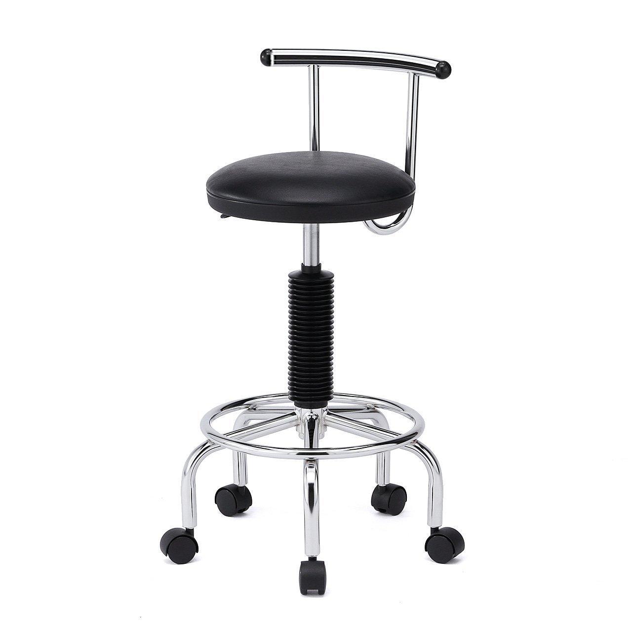 イーサプライ 2WAY カウンターチェア キャスター アジャスター両対応 バーカウンター 腰痛対策 回転椅子 ブラック EZ15-SNCH008BK B019SIGX7I