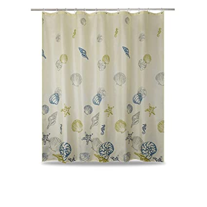 Image Unavailable Not Available For Color WUFAY Light Yellow Seashell Fabric Shower Curtains