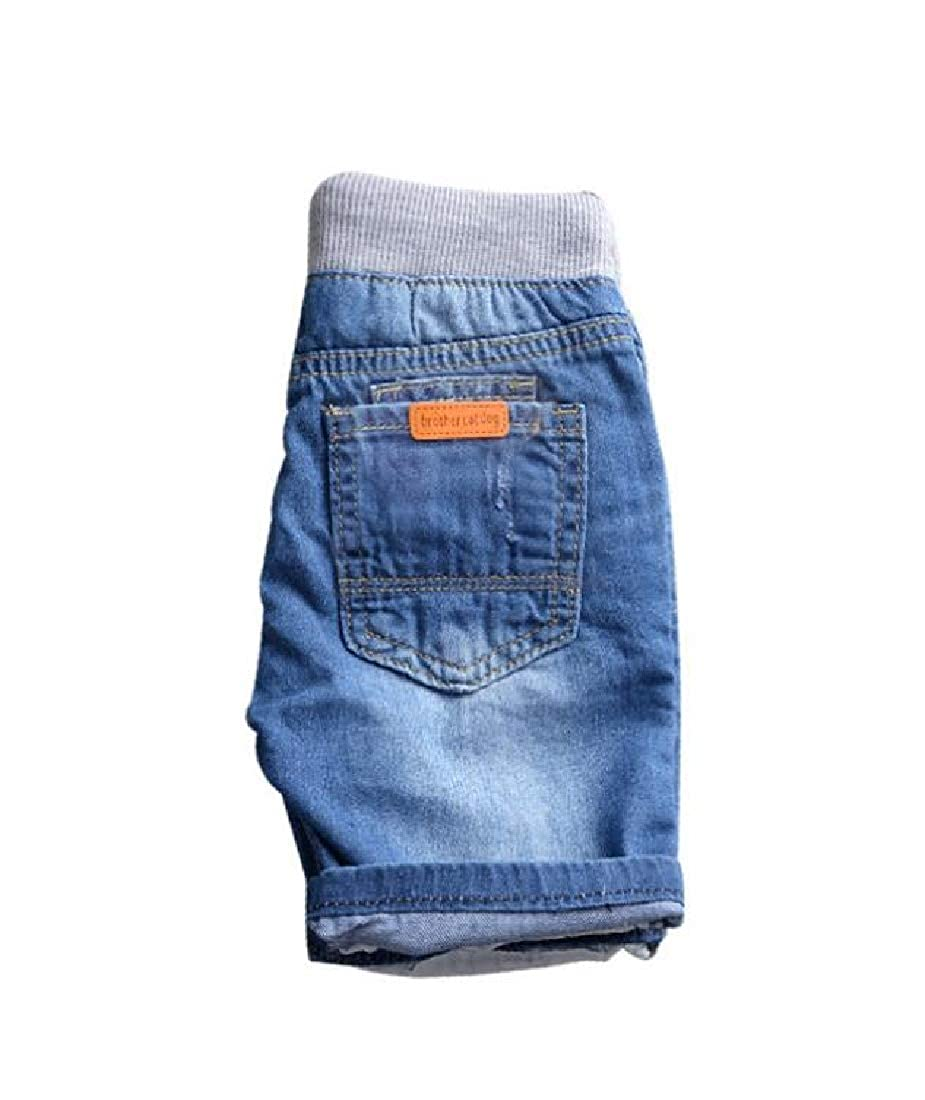 Etecredpow Boys Beach Denim Cute Jean Elastic Waist Hole Short