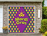 Outdoor Mardi Gras Decorations Garage Door Banner Cover Mural Décoration 8'x8' - Mardi Gras Diamonds - ''The Original Mardi Gras Supplies Holiday Garage Door Banner Decor''