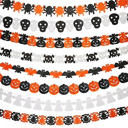 Mtlee 8 Pieces Halloween Paper Chain Garland Decoration, Ghost, Pumpkin, Bat, Skull, Pumpkin with Leaf, Spider Web, Ghost Head, Spider Shape for $<!--$8.99-->