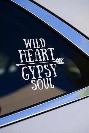 WILD HEART GYPSY SOUL White vinyl car or wall decal