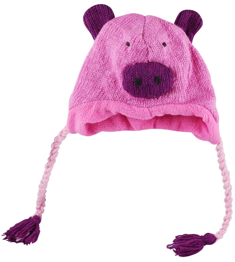 Nepal Wool Lined Animal Hat - Pig