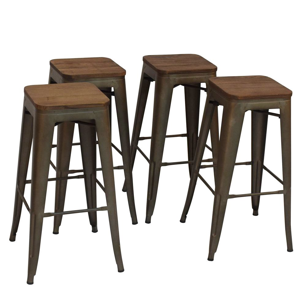 High Backless Metal Bar Stool for Indoor-Outdoor Kitchen Counter Bar Stools Set of 4 Bronze Metal with Wood Seat by Changjie Furniture (Image #1)